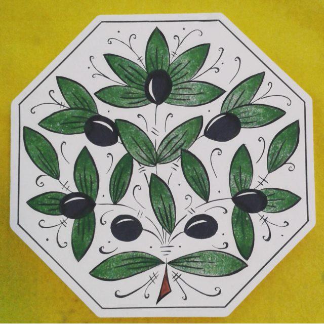 Italian pottery inspired olive design in progress... // italyan tarzı zeytin deseni yapılmakta...